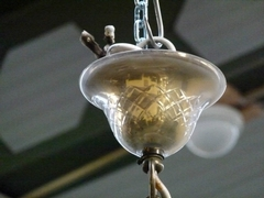 Louis 16 style Sac a perle,lamp in bronze and crystal 1950