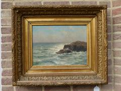 Marine style Painting by Romain Steppe in oil on canvas and gilded frame, Belgium 1920
