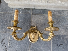 Mazerin Louis 16 style Pair wall sconces in gilded bronze, France 1890