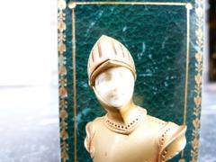 style Miniature buste of a warrior by Leroy in gilded metal and white face with stamp in original box, France 1900