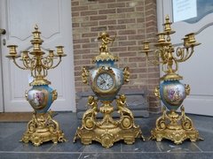 Napoleon 3  style Huge 3 pieces Sévres clockset in gilded bronze and Sévres porcelain, France,Sévres 1870