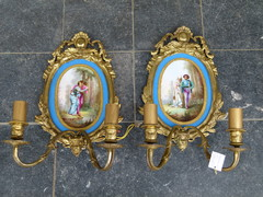 Napoleon 3 style Pair gilded bronze wall sconces with Sévres plates, France 1880