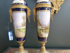 Napoleon 3 style Pair Sévres porcelain vases in gilded bronze and Sévres porcelain, France 1880