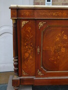 Napoleon 3 style Sideboard with flowers marquetry in different woods  , France 1880
