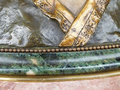 Napoleon III style Buste of a lady on a green marble base in tricolor patinated bronze, Belgium 1880