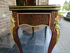 Napoleon III style Card play table with tortoiseshell in Boulle styl in ebonised wood,gilded bronze and tortoiseshell, France 1870