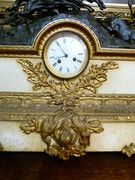 Napoleon III style Huge clockset with hunter in patinated and gilded bronze with white marble, France 1880