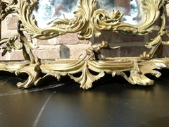 Napoleon III style Make-up mirror with a monkey and cherubs in gilded bronze, France 1870