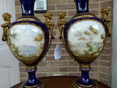 Napoleon III style Pair Sévres vases in porcelain and bronze, France,Sévres 1880