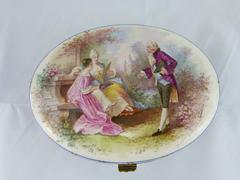 Napoleon III style Sévres porcelain box with romantic scene in park in porcelain, France,Sévres 1880
