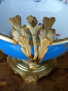 Napoleon III style Sévres porcelain centerpiece coupe with a romantic scene in gilded bronze and porcelain, France 1870