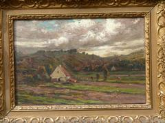style Painting of a landscape of a small village in oil on canvas in a gilded frame, Belgium 1900