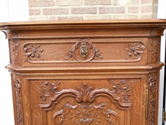 Regénce style One-door cabinet signed by Nullens J.  in carved oak, Belgium,Liége 1950