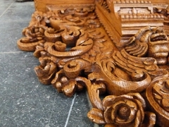Renaisence style Wall console in carved oak, Belgium 1930