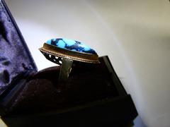 style Ring with turquoise in 18 kt yellow gold 1970