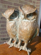 style Sculpture of 2 owls by Kurt Arentz in bronze, Germany 1970