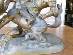 style Sculpture of a battle of two warriors in patinated bronze, France 1880