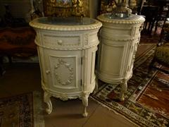 Transition  style Pair patinated nightstands in painted wood 1900