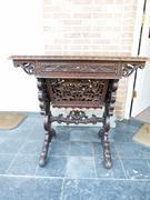 style Travailleuse lady desk in carved asiatique wood 1900