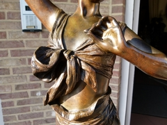Art-nouveau style Sculpture by E.Villanis of a dancing girl in patinated bronze,signed LV from founder, France 1890